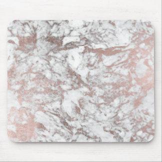 Rosa guld- marmor för modern elegant vitfaux musmatta