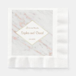 Rosa guld- marmorbröllop för elegant diamant pappersservett
