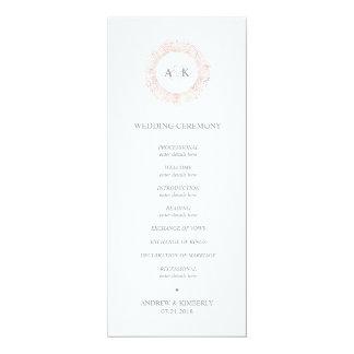 Rosa guld- monogrambröllopsprogram för elegant 10,2 x 23,5 cm inbjudningskort