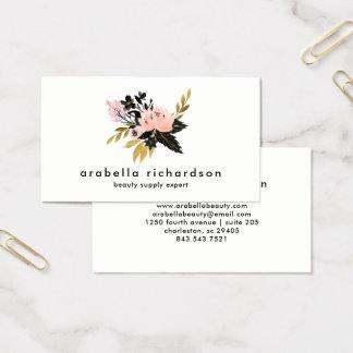 Rosa guld- och svartvattenfärgblommigt visitkort