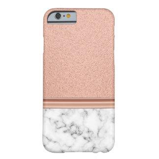 Rosa guld omkullkastar på marmor barely there iPhone 6 skal