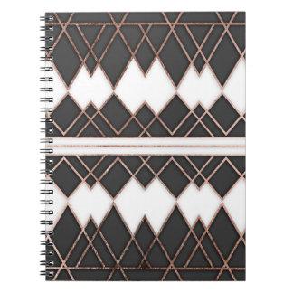 Rosa guld- svartvita trianglar för modern chic anteckningsbok med spiral