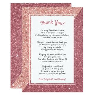 Rosa guld- tackkort för glitterdiktbaby shower 12,7 x 17,8 cm inbjudningskort