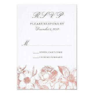 Rosa guld- vintageblommigtOSA kort 8,9 X 12,7 Cm Inbjudningskort
