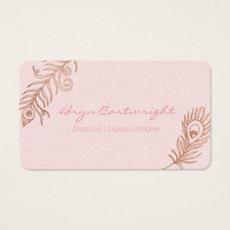 Rosa guld- visitkortar för fjäderrodnadromantik visitkort