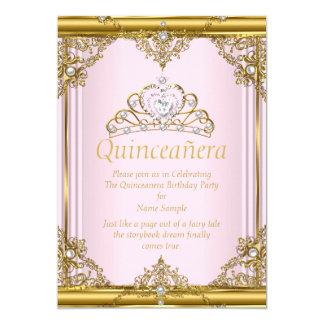 Rosa guld- vitpärlaPrincess Quinceanera Rodna 12,7 X 17,8 Cm Inbjudningskort