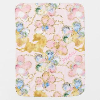 Rosa guldpersonlig för flickaktigt blom- Unicorn Bebisfilt