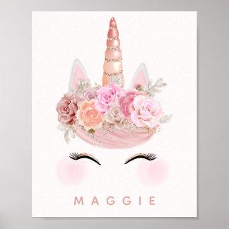 Rosa guldpersonlig för flickaktigt blom- Unicorn Poster