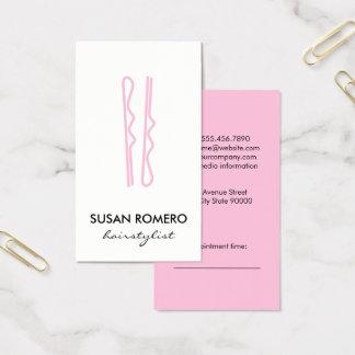 Rosa hår klämmer fast tidsbeställning visitkort