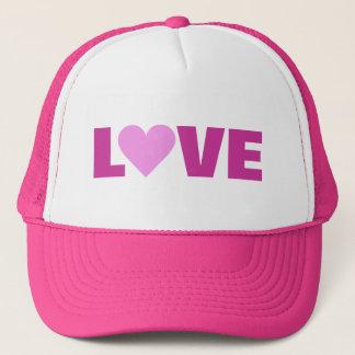 Rosa hatt för hjärtavalentinKÄRLEK Truckerkeps