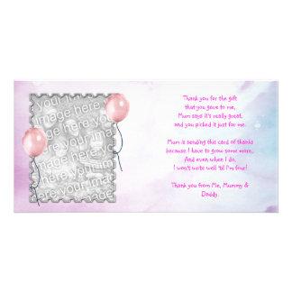 Rosa himmeltackkort från flicka fotokort