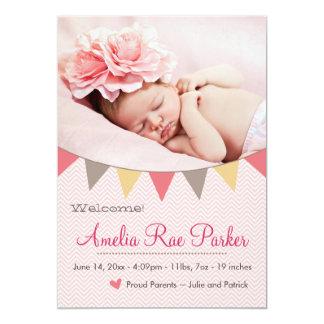 Rosa hjärta & baner - nyfödd 12,7 x 17,8 cm inbjudningskort