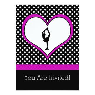 Rosa hjärta med flott polka dotskonståkning 14 x 19,5 cm inbjudningskort