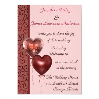 Rosa hjärtabröllopinbjudan 12,7 x 17,8 cm inbjudningskort