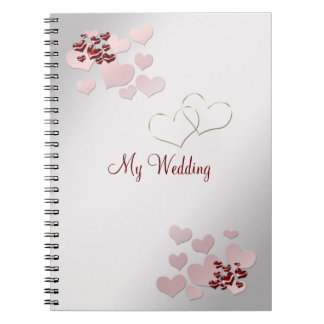 Rosa hjärtaelegant bröllopanteckningsbok antecknings bok
