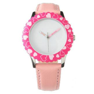 Rosa hjärtaklocka för rostfritt stål, justerbar armbandsur
