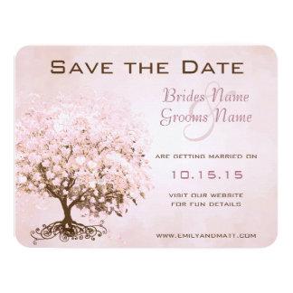 Rosa hjärtaträdbröllop spara datum personliga inbjudan