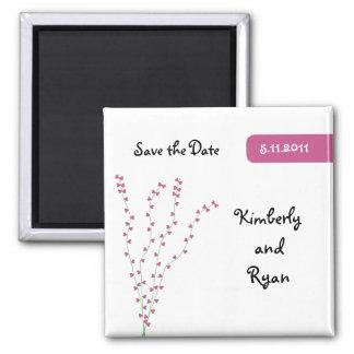 Rosa hjärtaträdspara datum magneter