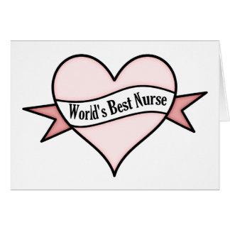 Rosa hjärtavärlds bäst sjuksköterska hälsningskort