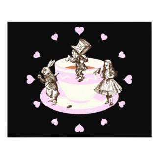 Rosa hjärtor för baby runt om ett tokigt Teaparty Reklamblad 11,5 X 14 Cm