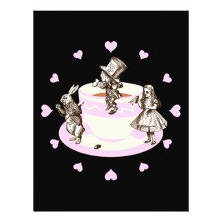 Rosa hjärtor för baby runt om ett tokigt Teaparty Reklamblad 21,5 X 30 Cm