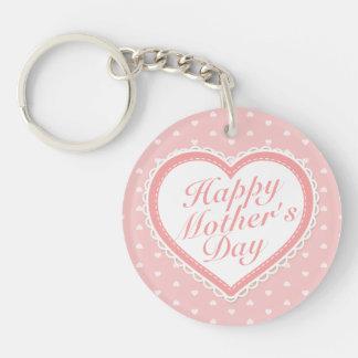 Rosa hjärtor Keychain för elegant lycklig mors dag