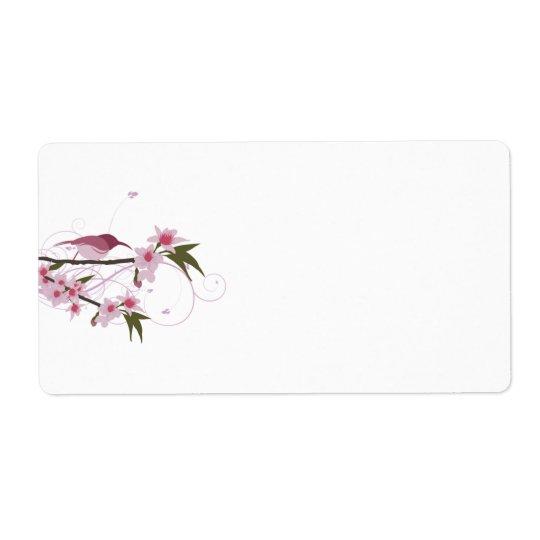 Rosa Hummingbird och blommasändningsetiketter Fraktsedel