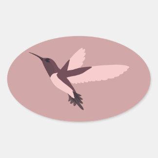Rosa Hummingbird Ovalt Klistermärke