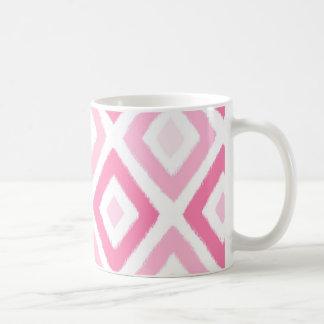 Rosa Ikat diamantmönster Kaffemugg