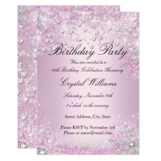 Rosa inbjudan för gnistrahjärtafödelsedag 12,7 x 17,8 cm inbjudningskort