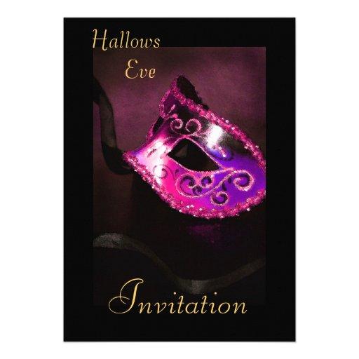 Rosa inbjudan för maskeradHalloween helgdag