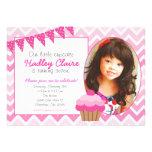 Rosa inbjudningar för inbjudan för Ombre muffinföd