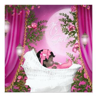 Rosa inbjudningar för måneflickadusch