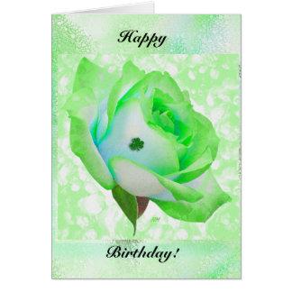 Rosa irländare och födelsedag! hälsningskort