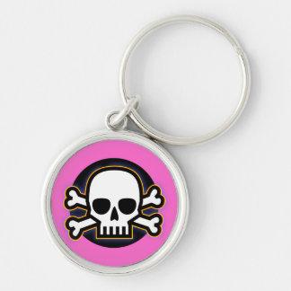 Rosa Jolly Roger Rund Silverfärgad Nyckelring