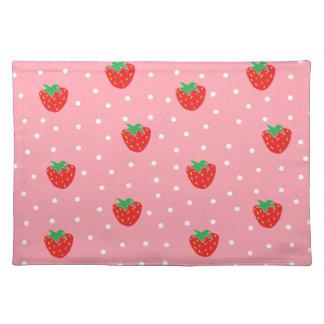 Rosa jordgubbar och polka dots bordstablett