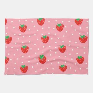 Rosa jordgubbar och polka dots kökshandduk