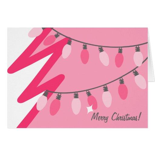 Rosa julgran - gammalmodigt ljus hälsningskort