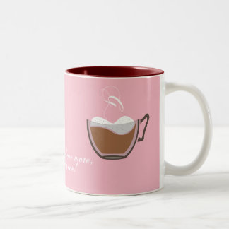 Rosa kaffemugg med qoute.