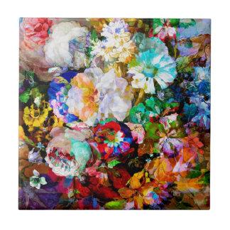 Rosa kål & daisy Mashup Liten Kakelplatta