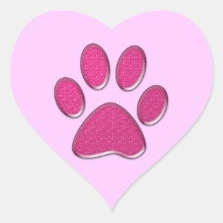 rosa kattungetasstryck hjärtformat klistermärke