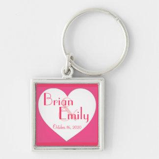 Rosa keychain för bröllop för vithjärtaanpassade nyckelring