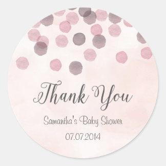 Rosa konfettibaby showerklistermärke runt klistermärke