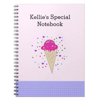 Rosa konfettiglass noterar anteckningsbok