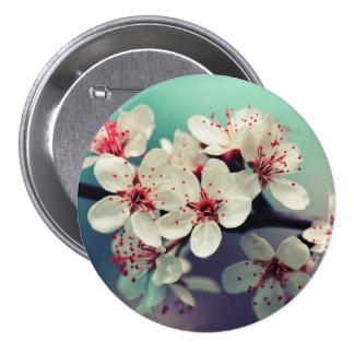Rosa körsbärsröd blommar, Cherryblossom, Sakura Mellanstor Knapp Rund 7.6 Cm