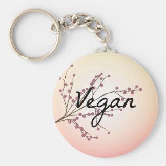 Rosa körsbärsröd blommar för Vegan Rund Nyckelring