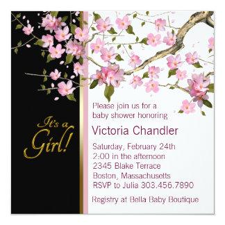 Rosa körsbärsröda blommarbaby showerinbjudningar fyrkantigt 13,3 cm inbjudningskort