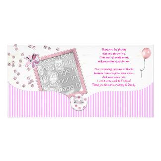 Rosa kort för baby showertackfoto från bebis