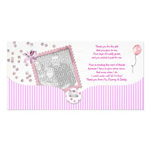 Rosa kort för baby showertackfoto från bebis fotokort