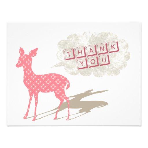 Rosa kort för Bambi lägenhettack Anpassade Inbjudningskort